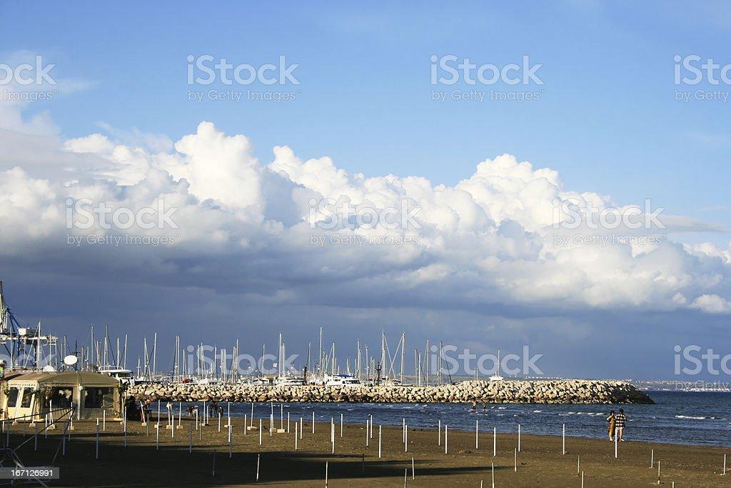 Larnaca empty beach royalty-free stock photo