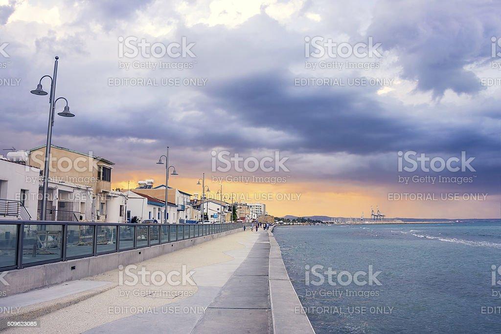 Larnaca promenade before the rain stock photo