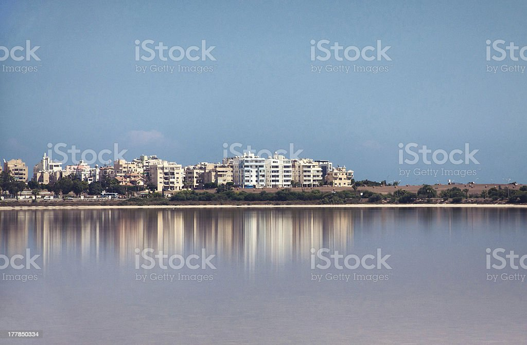 Larnaca, view to city from salt lake stock photo