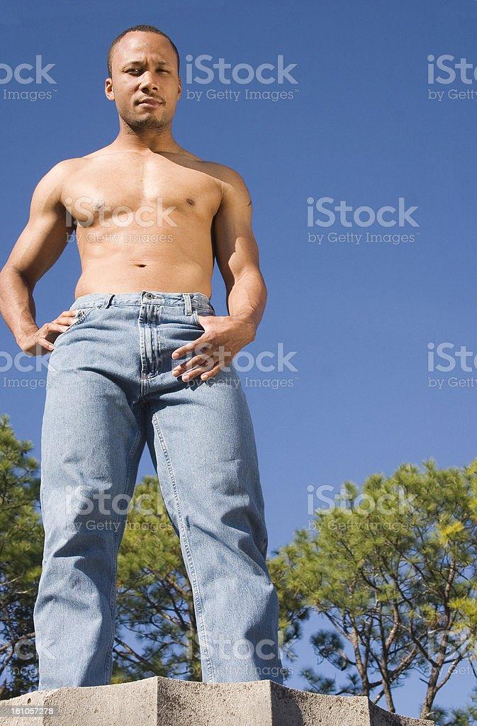 larry: jeans on beam stock photo