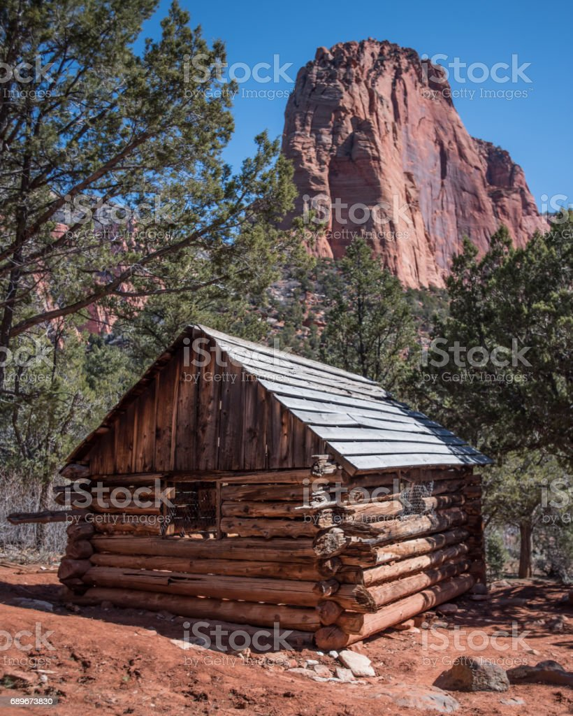 Larson Cabin Ruin in Zion stock photo