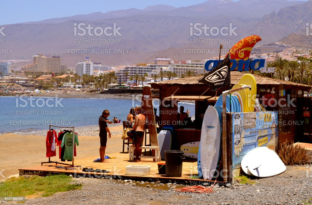 Playa De Las Americas beach surf hut stock photo