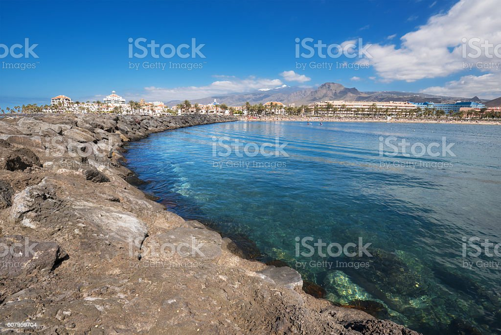 Las Americas coastline  in Adeje, Tenerife, Spain. stock photo