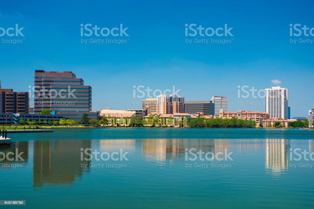 Las Colinas Skyline with Lake Carolyn stock photo