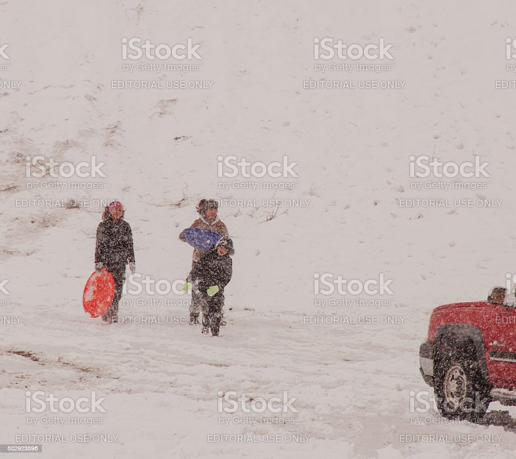 Las Cruces, New Mexico Residents Playing in Snow stock photo