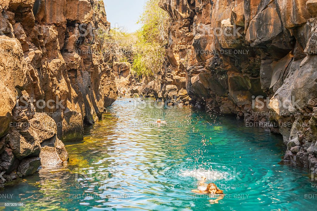 Las Grietas on Santa Cruz Island in Galapagos stock photo