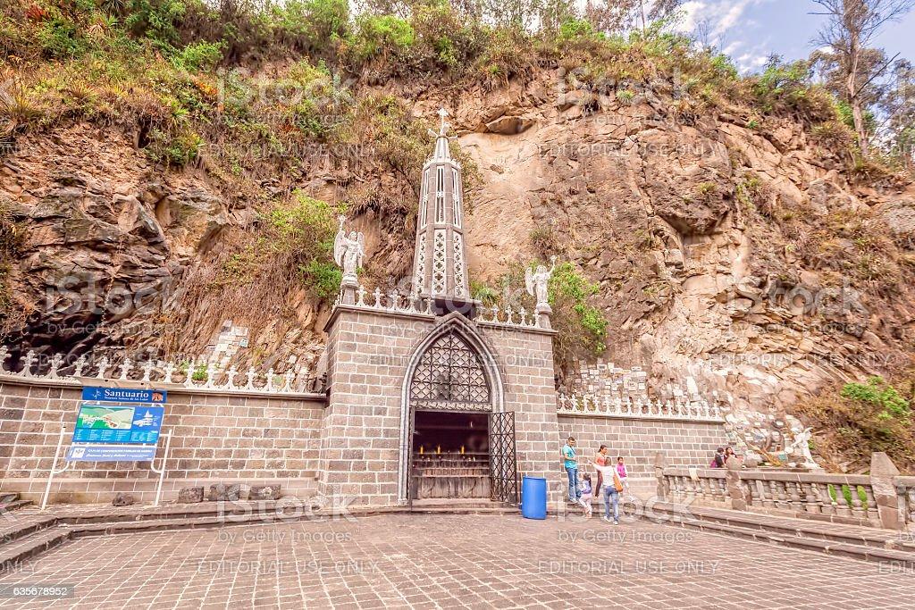 Las Lajas Sanctuary, Neo-Gothic Gray Stone, Colombia stock photo
