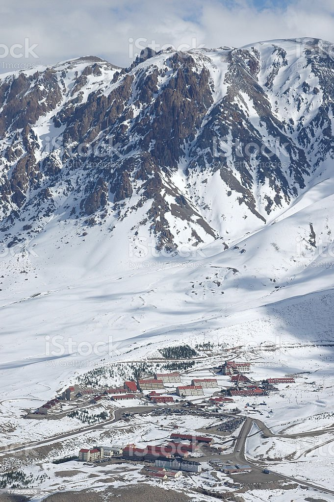 Las Lenas Argentina Town and Mountains royalty-free stock photo