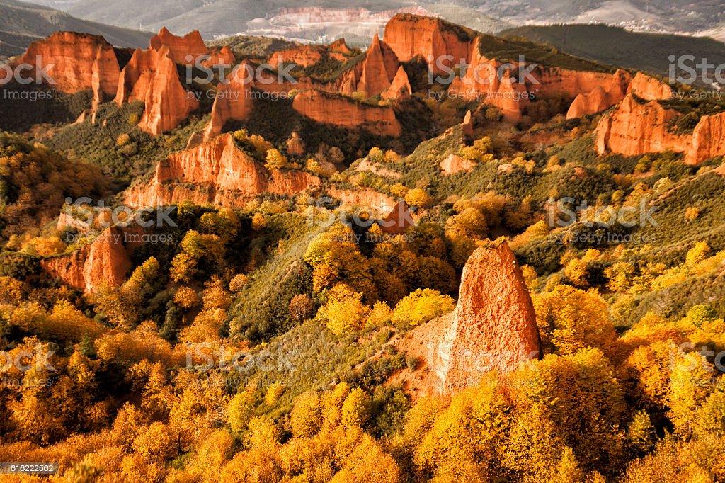 Las Medulas natural park in Leon Spain stock photo
