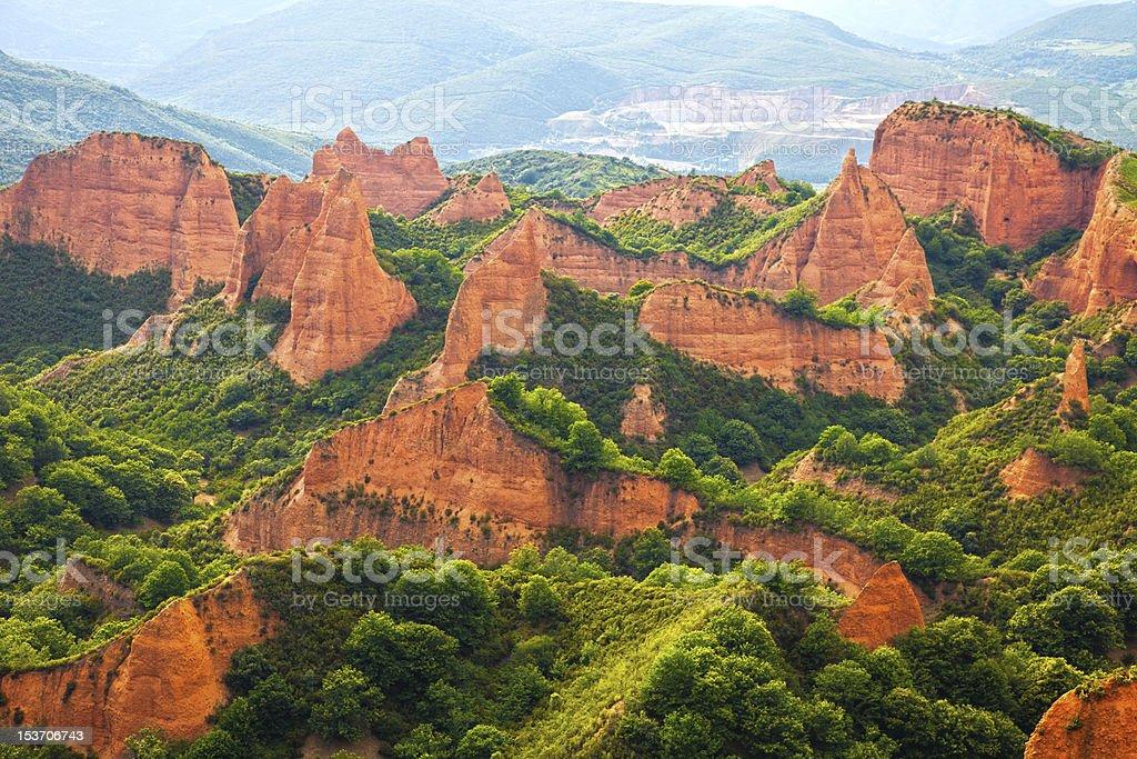 Las Medulas panoramic. Province of Leon, Spain stock photo