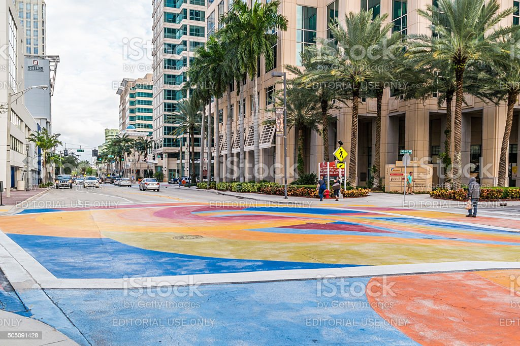 Las Olas Boulevard in Fort Lauderdale, Florida stock photo