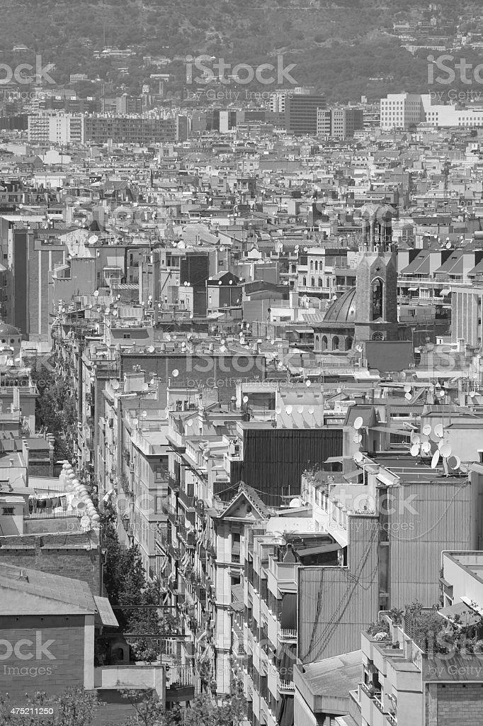 Las Ramblas - Barcelona from above stock photo