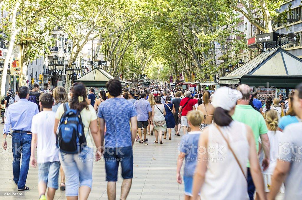 las ramblas pedestrians in rambles de barcelona stock photo