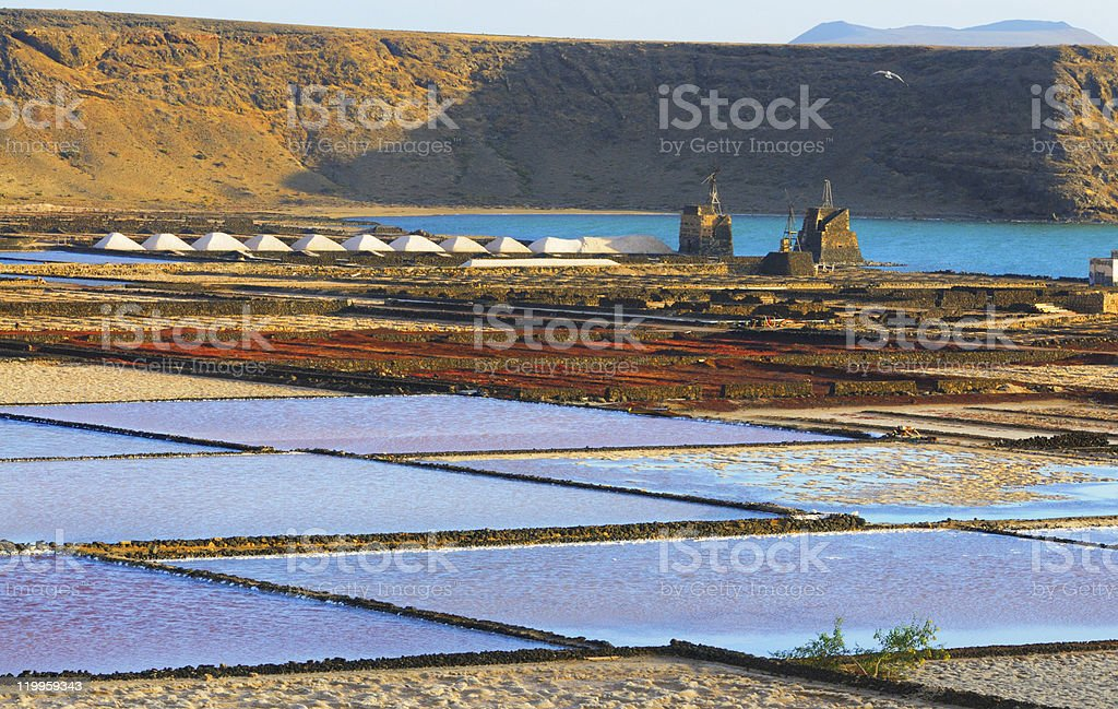 Las Salinas de Janubio, Western Lanzarote, Canary islands, Spain stock photo