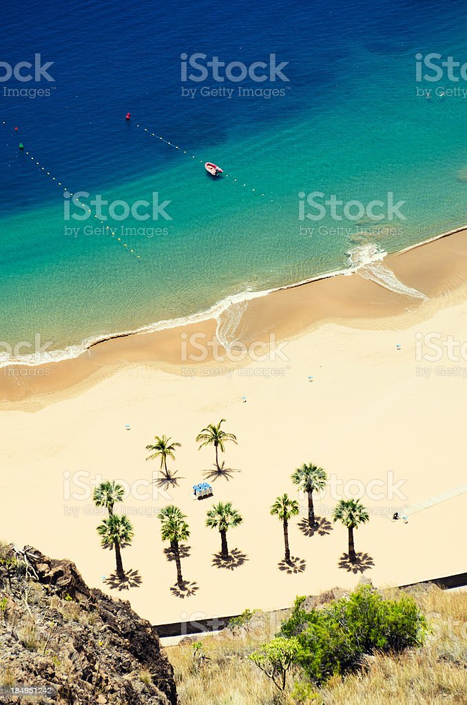 Playa de Las Teresitas - Aerial view stock photo