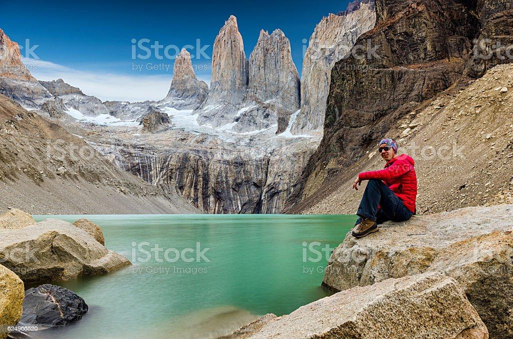 Las Torre, Torres del Paine, Patagonia, Chile stock photo