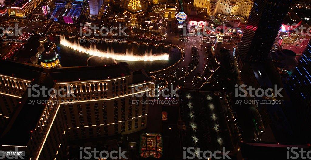 Las Vegas Aerial View of Fountains stock photo