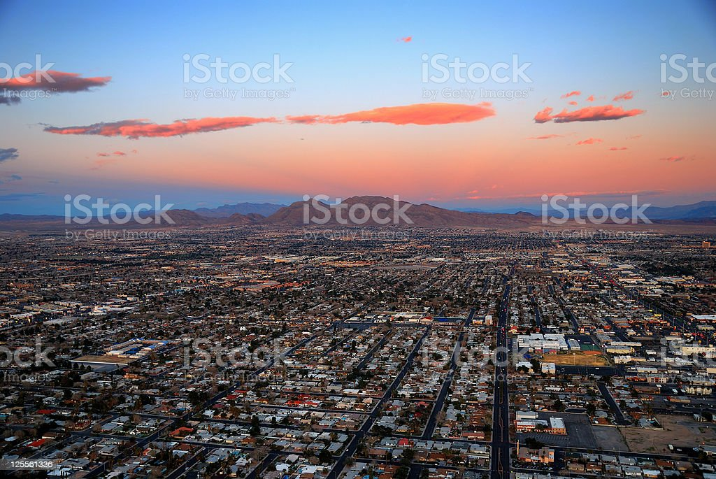 Las Vegas aerial with mountain at sunset stock photo