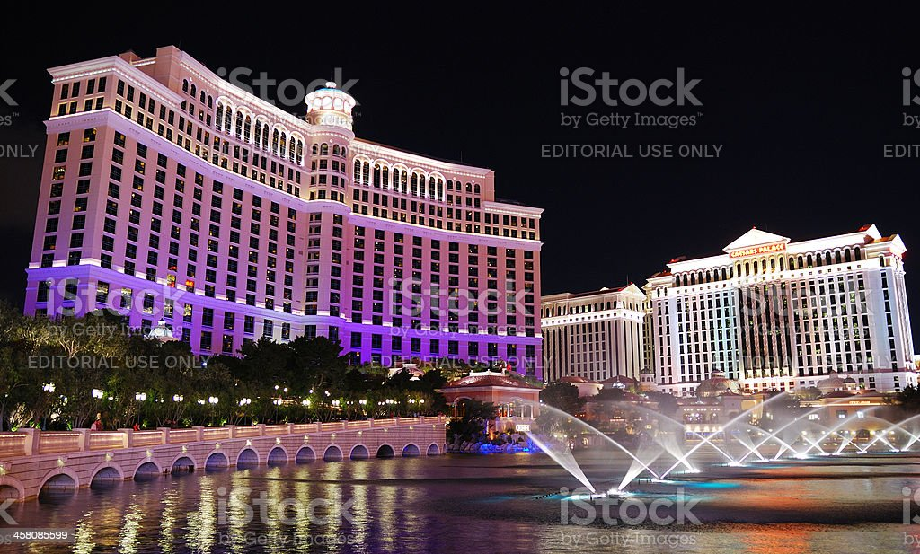 Las Vegas Bellagio Hotel fountain show stock photo