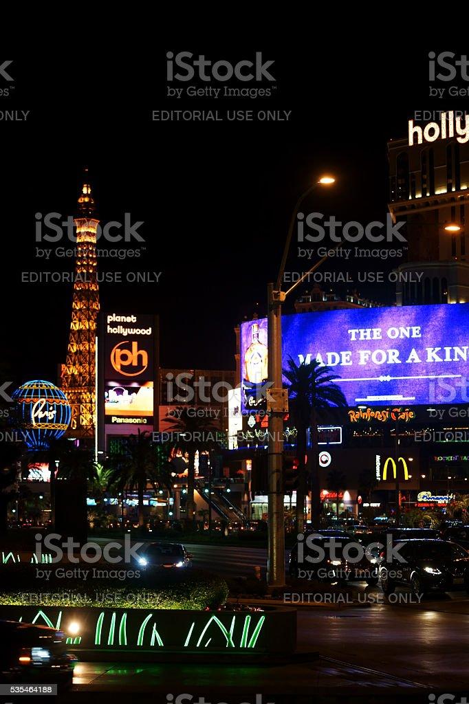 Las Vegas Boulevard at night stock photo
