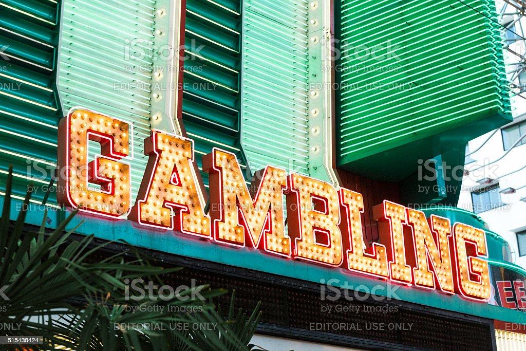 Las Vegas Casino Advertises Gambling in Downtown Fremont Street stock photo