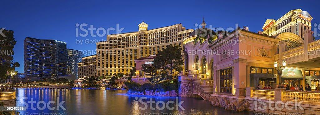 Las Vegas Cosmopolitan Bellagio Caesars Palace casinos illuminated panorama USA stock photo