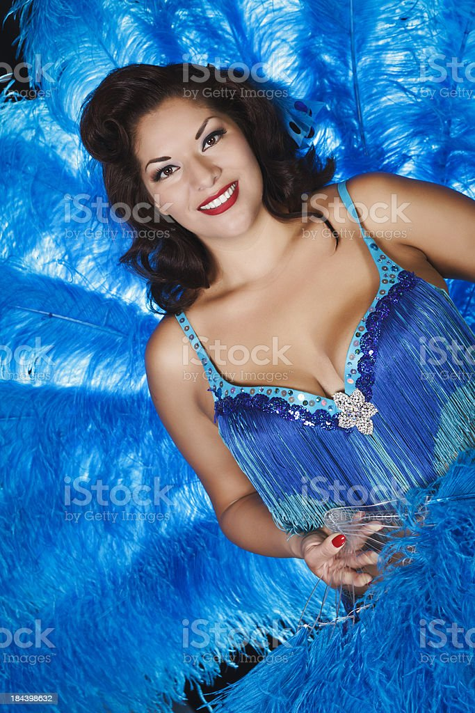 Las Vegas Dancer With Feather Fans stock photo