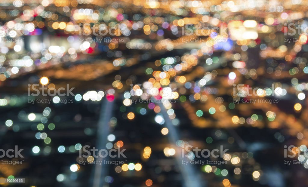 Las Vegas Downtown - Defocused lights bokeh stock photo