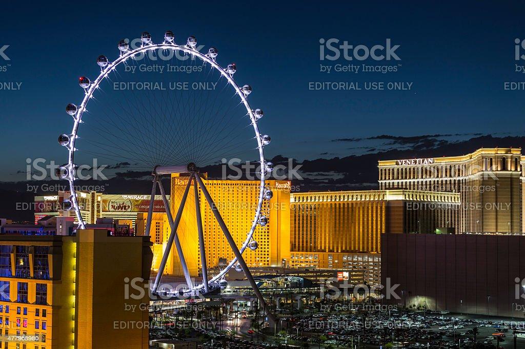 Las Vegas Ferris Wheel Night stock photo