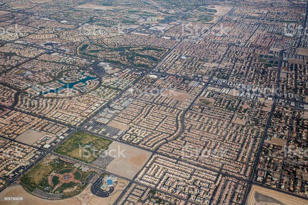 Las Vegas from the plane stock photo