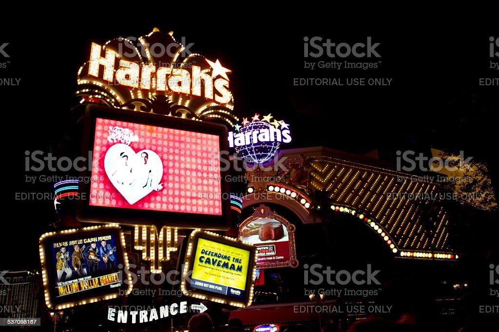 Las Vegas Harrahs entry at night stock photo