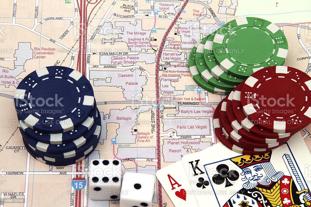 Las Vegas map of casinos on the Strip stock photo
