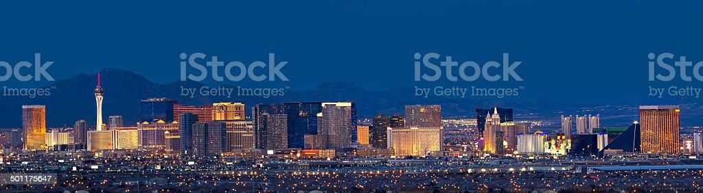 Las Vegas, Nevada Skyline Panorama at Night stock photo