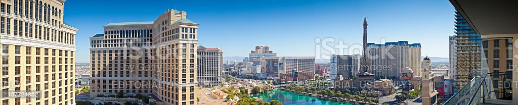 Las Vegas, Nevada, USA, City of Sin at sunrise. stock photo