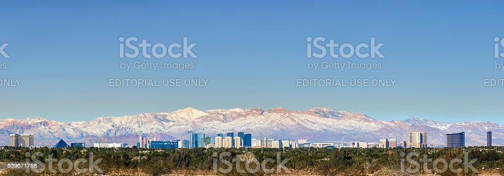 Las Vegas Panorama with snow stock photo
