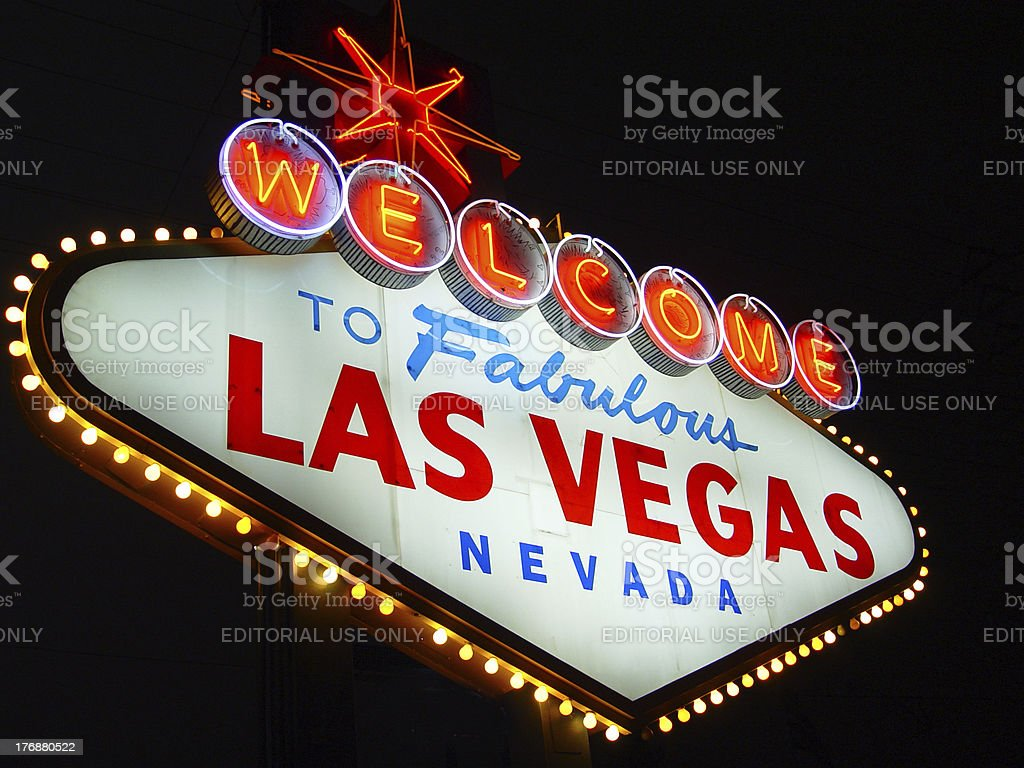 Las Vegas Sign at night left side royalty-free stock photo