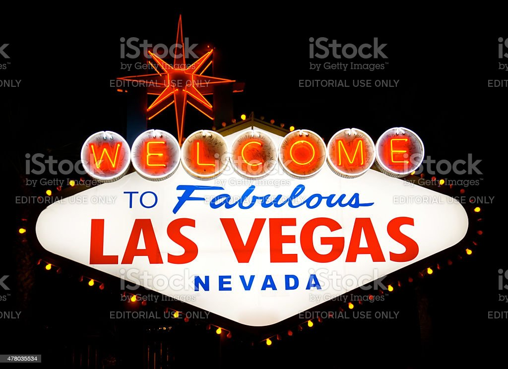Las Vegas Sign at Night stock photo