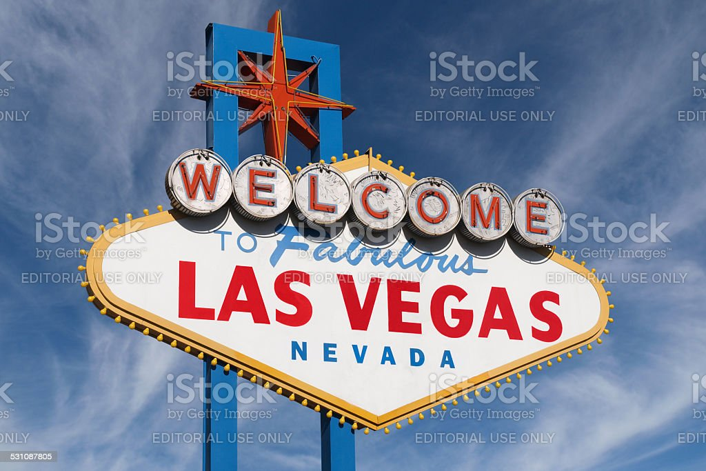 Las Vegas Sign with High Clouds stock photo