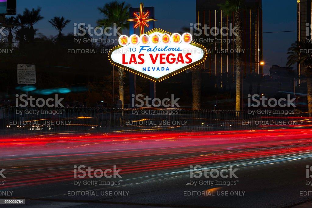 Las Vegas Sign with night traffic stock photo