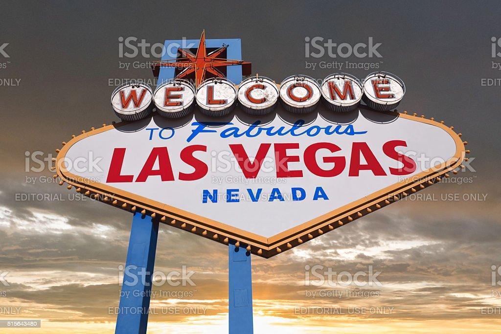 Las Vegas Sign with Sunset Sky stock photo