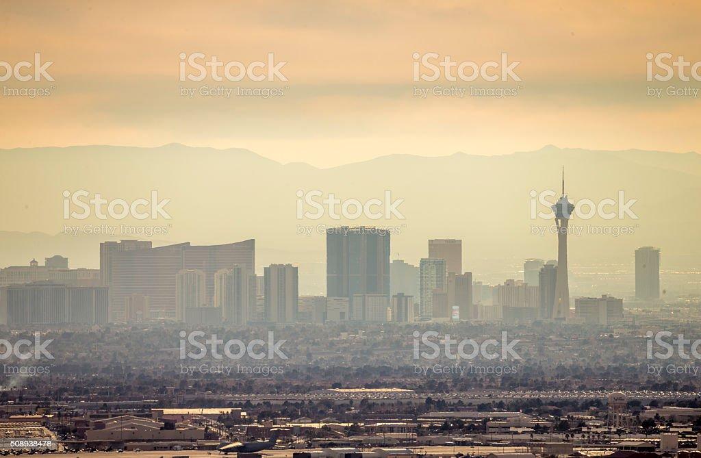 Las Vegas Skyline under a fogy day stock photo