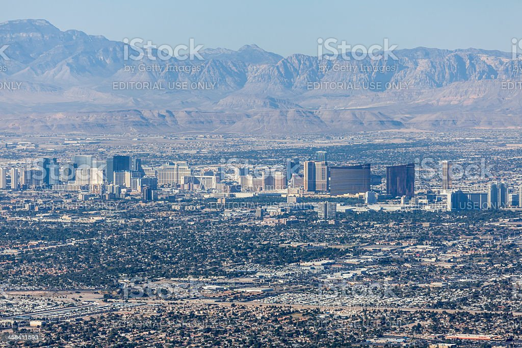 Las Vegas Strip and Red Rock Canyon National Conservation Area stock photo