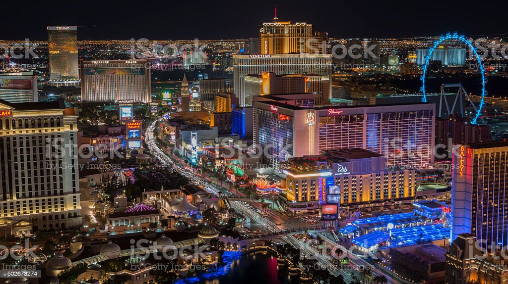 Las Vegas Strip at night - high vantage stock photo