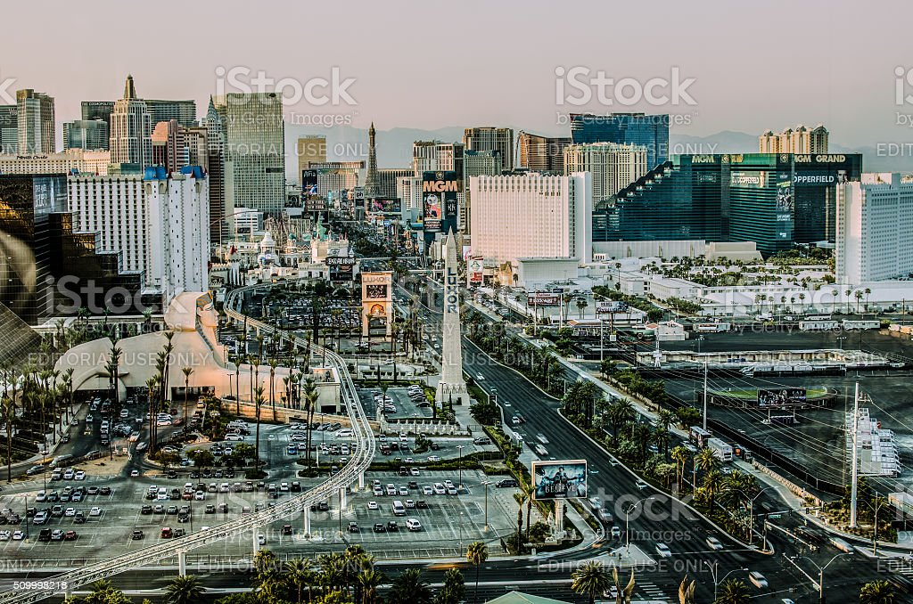 Las Vegas Strip just before sunset in muted colors stock photo