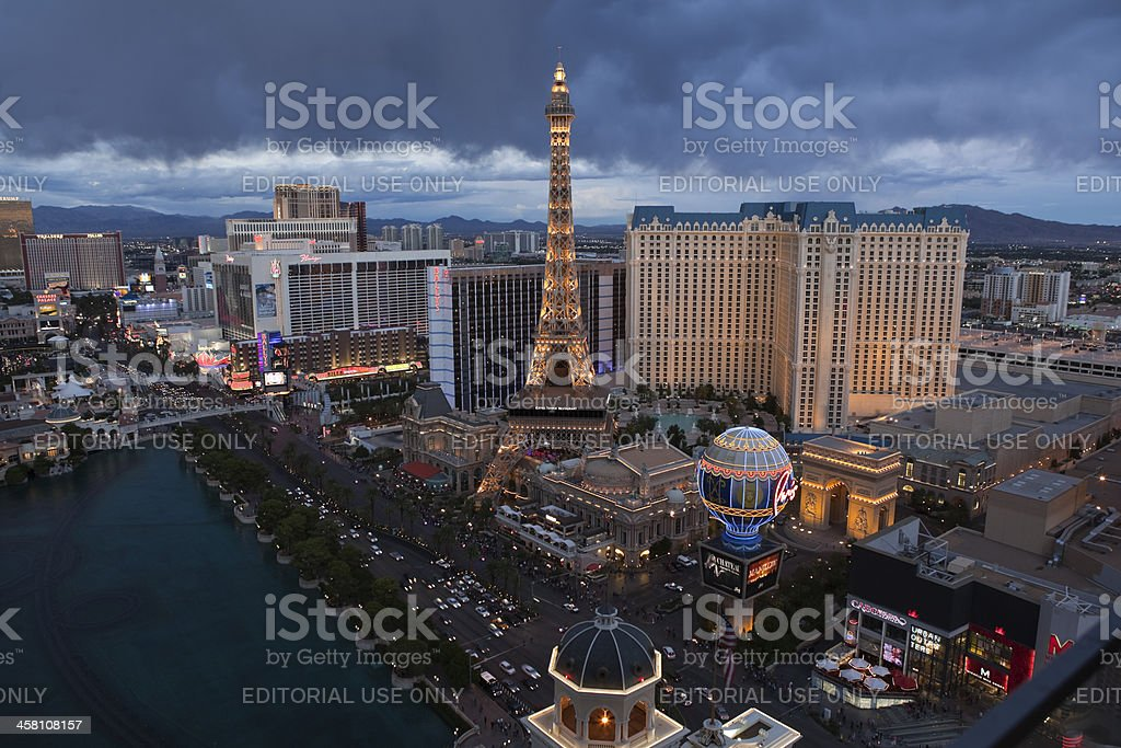 Las Vegas Strip Storm Clouds at Dusk royalty-free stock photo