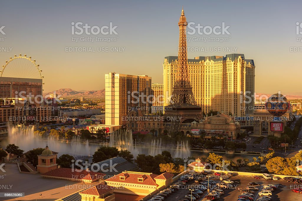 Las Vegas Strip with Bellagio Fountain Show at Sunset stock photo