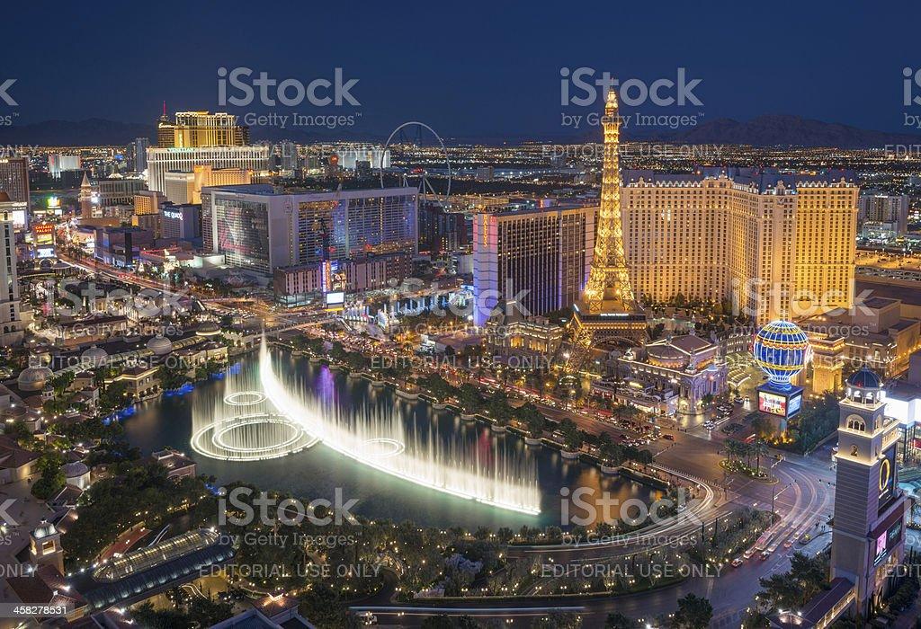 Las Vegas Strip with Bellagio Fountain Show stock photo