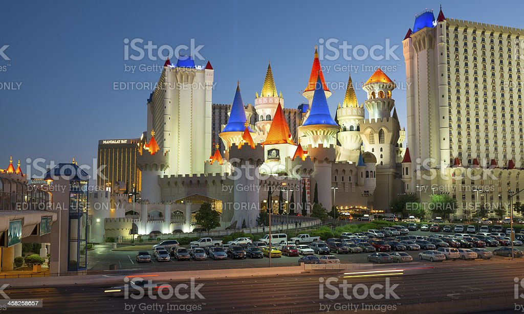 Las Vegas Strip with the Excalibur, Mandalay Bay and Luxur stock photo