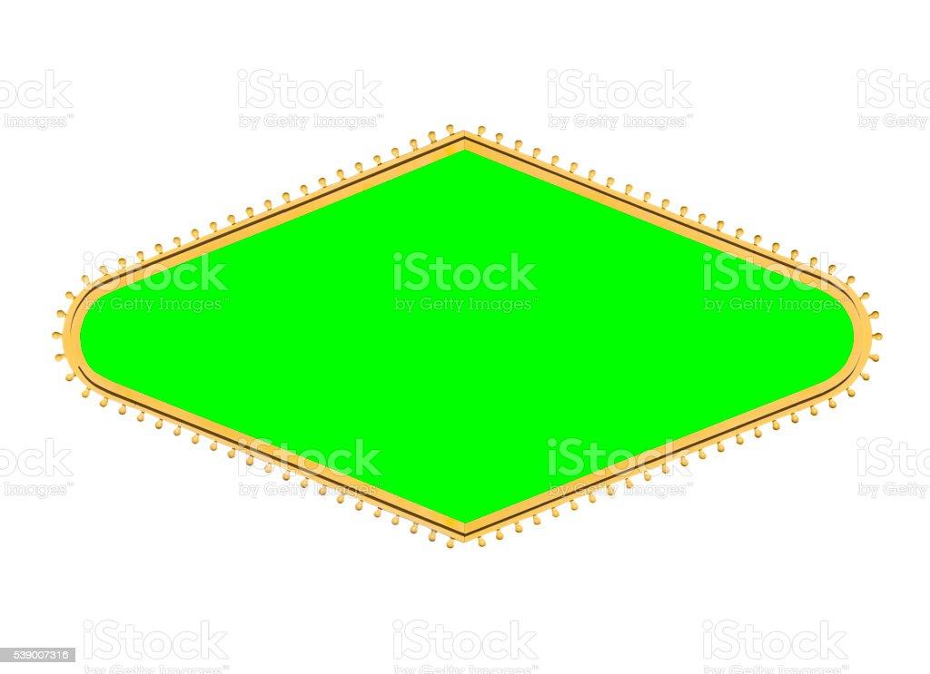 Las Vegas Style Bulb Diamond Sign Frame with Chroma Green stock photo