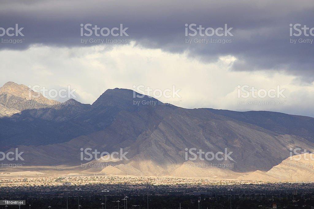 Las Vegas Valley - Rain Storm Over Mountains royalty-free stock photo